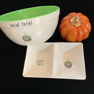 Rae Dunn Hocus Pocus bowl and Witch's Brew tray